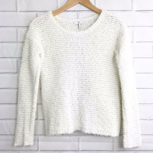 Joie Anias Long Sleeve Sweater Small White Fuzzy
